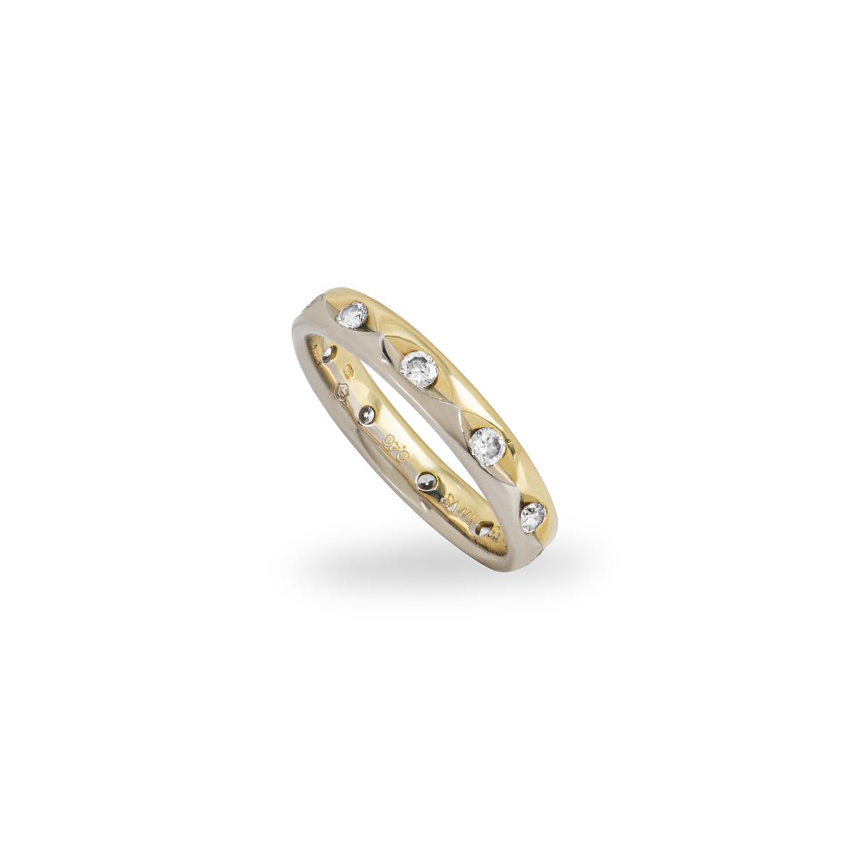 Two Colour Gold Round Brilliant Cut Diamond Wedding Band